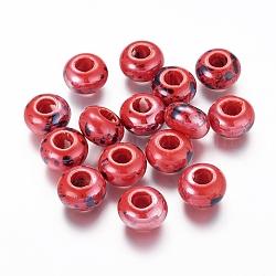 Perles en porcelaine manuelles, nacré, rondelle, rouge, 15x10mm, Trou: 6mm(X-PORC-Q210-15mm-2)