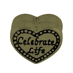 Perles européennes avec gros trou en alliage de style tibétain, Coeur avec célébrer la vie, sans plomb et sans nickel, bronze antique, 10x12x7.5mm, Trou: 5mm(X-TIBEB-8032-AB-NR)