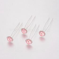 (vente de clôture défectueuse), fourches de cheveux de dame, avec des résultats de fer de couleur argent, perle d'imitation acrylique et strass, fleur, cristal, rose, 75 mm(PHAR-XCP0001-I02)