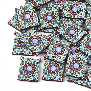 Printed Basswood Cabochons, Colorful, 23.5x20x3mm(X-WOOD-S045-074B)