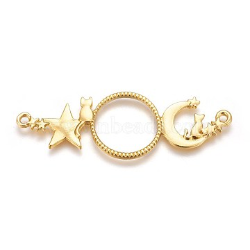 Zinc Alloy Kitten Open Back Bezel Links, for DIY UV Resin, Epoxy Resin, Pressed Flower Jewelry, Cat with Moon & Star, Golden, 23x68x2mm, Hole: 2.5mm(X-PALLOY-WH0039-02G-C)