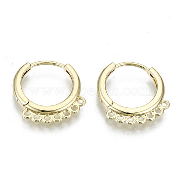 Brass Huggie Hoop Earring, with 7 Loops, Nickel Free, Ring, Real 18K Gold Plated, 17x16x2mm, Hole: 1.2mm, Pin: 0.9mm(KK-N227-61-NF)