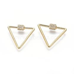 laiton micro pavé zircone cubique vis verrouillage mousqueton porte-clés, charm mousqueton, pour la fabrication de colliers, triangle, or, 24x26x2 mm(ZIRC-I031-18G)