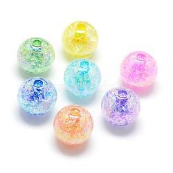 Perles acryliques craquelées, couleur ab, couleur à l'intérieur , rond, couleur mixte, 16mm, trou: 4 mm; environ 225 pcs / 500 g(MACR-S825-16mm)