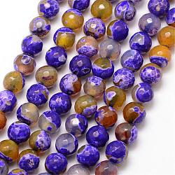 Natural Fire Agate Bead Strands, Round, Grade A, Faceted, Dyed & Heated, BlueViolet, 8mm, Hole: 1mm; about 47pcs/strand, 15