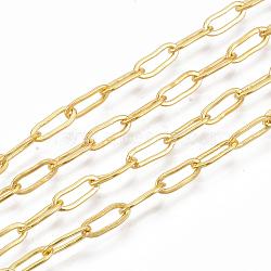 chaînes de trombones en laiton, plat ovale, chaînes de câble allongées étirées, soudé, plaqué longue durée, avec bobine, sans cadmium et sans nickel et sans plomb, or, 9x3.5x0.7 mm(X-CHC-S008-001A-G)