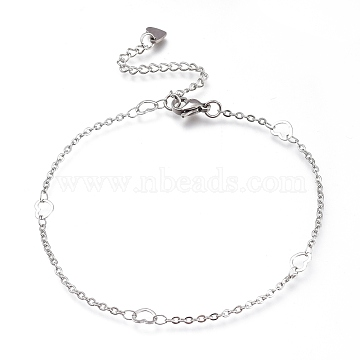 304 Stainless Steel Cable Chain Anklets, with Heart Links and Lobster Claw Clasps, Stainless Steel Color, 9-1/4 inches(23.5cm)(AJEW-M026-10P)