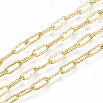 Brass Paperclip Chains, Flat Oval, Drawn Elongated Cable Chains, Soldered, Long-Lasting Plated, with Spool, Cadmium Free & Nickel Free & Lead Free, Golden, 9x3.5x0.7mm, about 6.56 Feet(2m)/roll(X-CHC-S008-001A-G)
