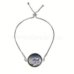 """Bracelets réglables en alliage de zinc et verre, bracelets bolo, avec des chaînes de fer, rond et plat avec licorne, grises , 9"""" (23 cm)(BJEW-P250-SE039)"""