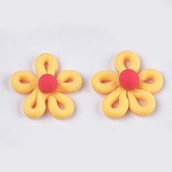 Cabochons en pâte polymère manuels, fleur, or, 27~28x26~28x10~11mm(CLAY-S091-33B)