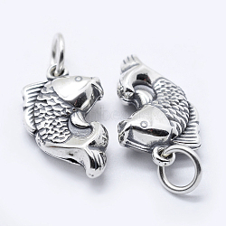 Thai Sterling Silver Pendants, Carved 925, Koi, Antique Silver, 18x11x5mm, Hole: 3mm(STER-K171-04AS)