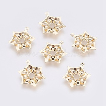 Brass Pendants, Long-Lasting Plated, Hexagon, Nickel Free, Real 18K Gold Plated, 19.5x15.2x2mm, Hole: 1mm(KK-I622-13G-A-NF)