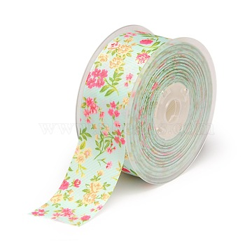 Floral Single-sided Printed Polyester Grosgrain Ribbons, Light Cyan, 1-1/2 inches(38mm), about 100yards/roll(91.44m/roll)(SRIB-A011-38mm-240875)