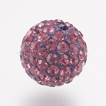 Czech Rhinestone Beads, PP13(1.9~2mm), Pave Disco Ball Beads, Polymer Clay, Round, 204_Amethyst, PP13(1.9~2mm); 12mm, Hole: 2mm, about 100~110pcs rhinestones/ball(RB-F022-PP13-12mm-TB38)