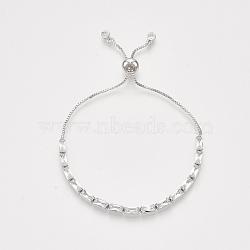 bracelets réglables en laiton à zircon cubique, bracelets bolo, avec des chaînes de boîte, platine, 9-1 / 2 (24 cm)(BJEW-S142-01A-P)