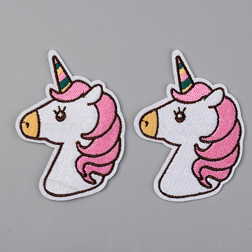 Computerized Embroidery Cloth Iron on/Sew on Patches, Appliques, Costume Accessories,  Unicorn, Hot Pink, 86x63x1.5mm(X-DIY-S040-079)