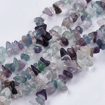 Natural Fluorite Stone Bead Strands, Chip, 4~10x4~6x2~4mm, Hole: 1mm, about 210pcs/strand, 35.4 inches(X-G-R192-05)