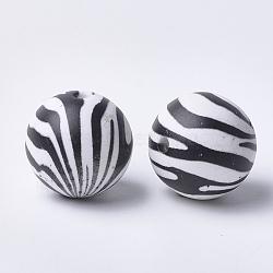 Perles acryliques imprimées, rond avec motif zébré, noir, 20x19mm, Trou: 2.5mm(X-MACR-T024-43)
