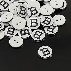 Boutons en plastique, 2-trou, rond et plat avec des lettres, blanc, letter.b, 12.5x2mm, Trou: 1.5mm(X-BUTT-A010-20L-B)