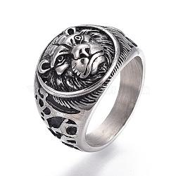 Bagues à large bande en 304 acier inoxydable, plat et circulaire avec lion, argent antique, taille 7~12, 17~21mm(RJEW-O032-11AS)
