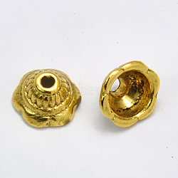 Tibetan Style Bead Caps, Lead Free & Cadmium Free, Flower, Antique Golden Color, 8mm in diameter, 5mm thick, hole: 2mm, Inner Size: 5.5mm(X-GLF11244Y)