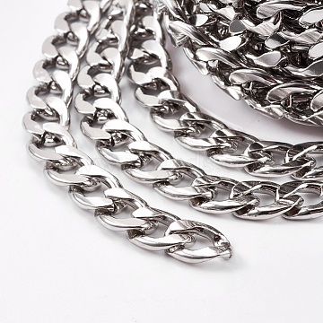 304 Stainless Steel Cuban Link Chains, Curb Chains, Unwelded, Stainless Steel Color, 10x7mm(X-CHS-E013-17C)