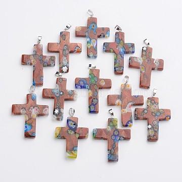 Platinum Camel Cross Millefiori Lampwork Pendants