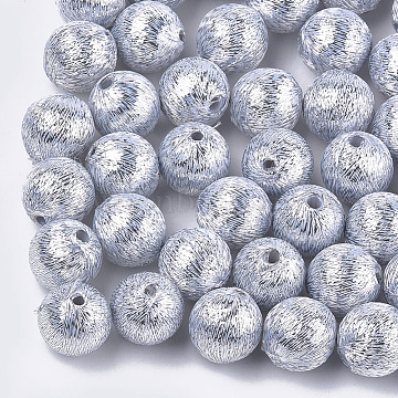 Polyester Thread Fabric Covered Beads, with ABS Plastic Inside, Round, Silver, 16x17mm, Hole: 2mm(X-WOVE-T009-16mm-06)