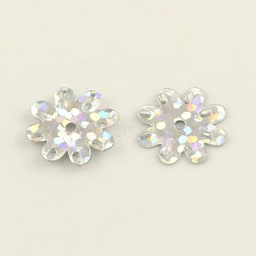 Ornament Accessories Flower Plastic Paillette Beads, Sequins Beads, Clear, 12~14x1mm, Hole: 1mm(X-PVC-Q034-D13)