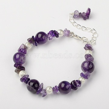 """Amethyst Bracelets, with Brass Textured Beads and Alloy Lobster Claw Clasps, Silver Color Plated, Amethyst, 7-1/4""""(18.5cm)(X-BJEW-JB01391-02)"""