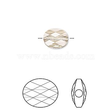 Austrian Crystal Beads, 5051, Crystal Passions, Faceted Mini Oval, 261_Light Silk, 10x8mm, Hole: 1mm(5051-10x8-261(U))