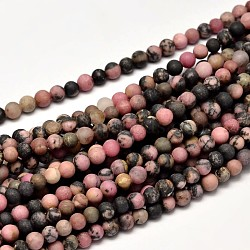 "Rhodonite naturel dépoli brins de perles rondes, 4mm, trou: 1mm; environ 95 pcs/chapelet, 15""(G-F266-13-4mm)"