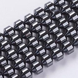 синтетические гематит бусины, С магнитным, черный, 6x6 mm, отверстия: 1 mm, о 61 шт / прядь(G-H1094-1)