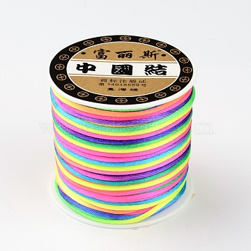 Polyester Threads Cords, Rattail Satin Cord, for Chinese Knotting, Jewelry Making, Colorful, 2mm; about 50yards/roll(X-OCOR-E006-07)