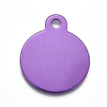 Pendentifs en aluminium, estampillage d'une étiquette vierge, plat rond, violet, 31x25x1mm, Trou: 3mm(ALUM-I002-01J)