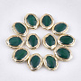 Natural Agate Beads, with Electroplate Polymer Clay, Dyed, Oval, DarkGreen, 21~22x17~18x6.5~7mm, Hole: 1~1.2mm