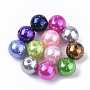 Fluorescent Plastic Beads, ABS Plastic Imitation Pearl Beads, with Glitter Powder, Round, Mixed Color, 9.5x10mm, Hole: 1.5mm