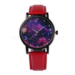 Женские сплав Кожа PU кварцевые наручные часы, со стразами, покрытие черного цвета металла, красные, 240x18 мм; голова часы: 39.5x10.5; Циферблат: 35 мм(WACH-M131-02A)