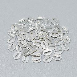 925 languette de chaîne en argent sterling, ovale avec la conception de l'os, sculpté 925, argenterie, 5.5x4x0.5mm(STER-T002-253S)