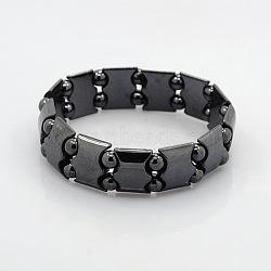 Bracelets magnétique hématite extensibles pour le cadeau de Saint-Valentin, noir, 60mm(BJEW-M066-08)