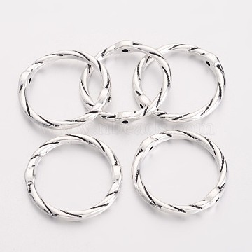Alloy Linking Rings, Circle Frames, Lead Free and Cadmium Free, Antique Silver, Size: about 21mm in diameter, 16mm inner diameter, 2mm thick(EA8812Y-AS)