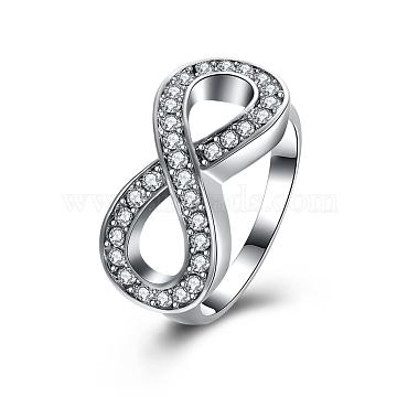 Tin Alloy Czech Rhinestone Infinity Rings For Women, Platinum, Size 6, 16.5mm(RJEW-BB16351-6P)