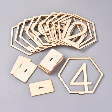 Wood Table Numbers Cards, for Wedding, Restaurant, Birthday Party Decorations, Hexagon with Number 1~10, Blanched Almond, 33x109x100mm(AJEW-WH0021-29A)