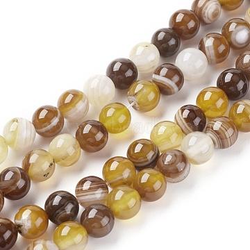 agate à rayures naturelles / brins de perles d'agate, teints et chauffée, arrondir, burlywood, 6 mm, trou: 1 mm; environ 63 perle / brin, 14.57 (37 cm)(G-G582-6mm-51)