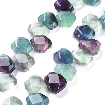 Natural Fluorite Beads Strands, Top Drilled Beads, Faceted, Nuggets, 17~20x15~16x9~10mm, Hole: 0.7mm; about 32pcs/strand, 15.94inches(40.5cm)(G-L527-04)