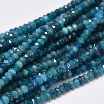 Faceted Rondelle Natural Apatite Bead Strands, 4x3mm, Hole: 1mm; about 156pcs/strand, 15.5 inches(G-F289-48B)