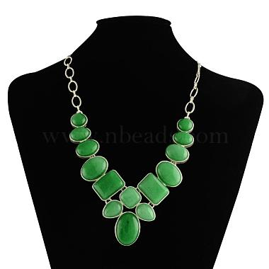 Natural Malaysia Jade Gemstone Bib Statement Necklaces with Alloy Cabochon Settings and Silver Color Plated Brass Chains(NJEW-R224-02E-B)-2