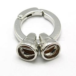 Brass Spring Gate Rings, O Rings, Platinum, 36mm(KK-E385-P)