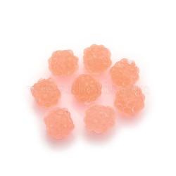 Бусины со стразами из смолы, с желе внутри стиля, круглые, оранжевые, 12x10 мм(RESI-S254-12mm-GT2)