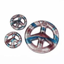 Handmade Silver Foil Glass Big Pendants, Peace Sign, Sky Blue, 25~50x4~7mm, Hole: 3mm; 3pc/set(X-FOIL-SLNE046-6)